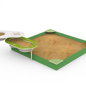 Álló PLUSZ (álló+fakeretes homokozó 2,5m x 2,5m)